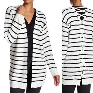 NWOT Classic + Lace-up Striped Cardigan